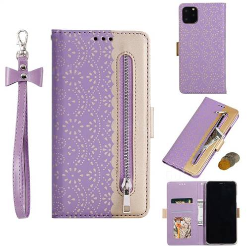 Luxury Lace Zipper Stitching Leather Phone Wallet Case for iPhone 11 Max (6.5 inch) - Purple
