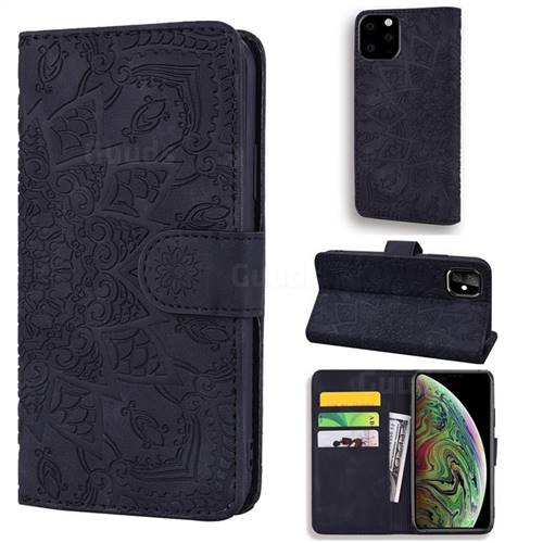Retro Embossing Mandala Flower Leather Wallet Case for iPhone 11 Pro Max (6.5 inch) - Black