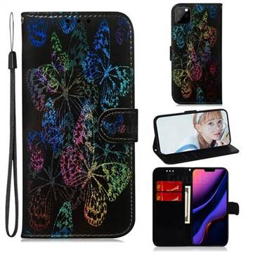 Black Butterfly Laser Shining Leather Wallet Phone Case for iPhone 11 Pro Max (6.5 inch)