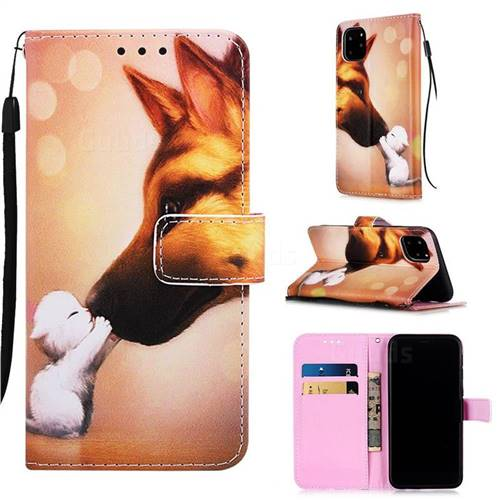 Hound Kiss Matte Leather Wallet Phone Case for iPhone 11 Pro Max (6.5 inch)