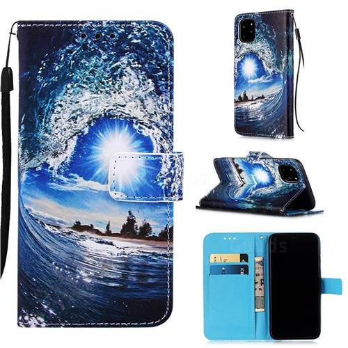 Waves and Sun Matte Leather Wallet Phone Case for iPhone 11 Pro Max (6.5 inch)
