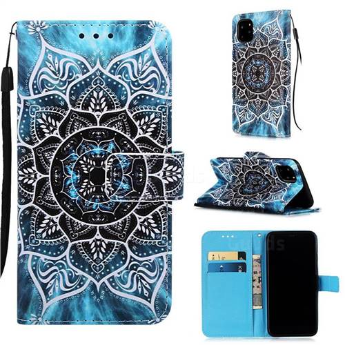 Underwater Mandala Matte Leather Wallet Phone Case for iPhone 11 Pro Max (6.5 inch)