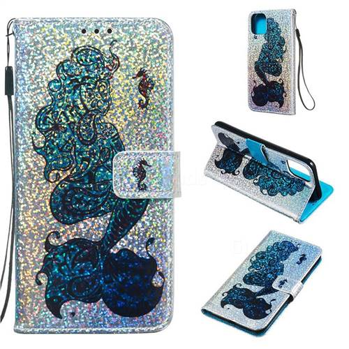 Mermaid Seahorse Sequins Painted Leather Wallet Case for iPhone 11 Pro Max (6.5 inch)