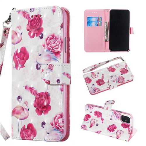 Flamingo 3D Painted Leather Wallet Phone Case for iPhone 11 Pro Max (6.5 inch)