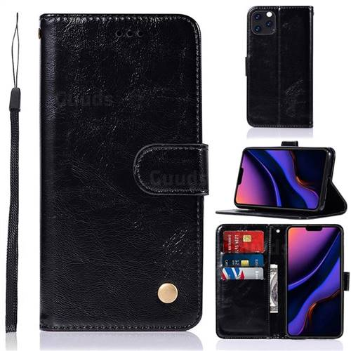 Luxury Retro Leather Wallet Case for iPhone 11 Pro Max (6.5 inch) - Black