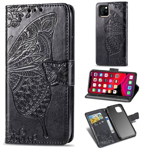Embossing Mandala Flower Butterfly Leather Wallet Case for iPhone 11 Pro Max (6.5 inch) - Black
