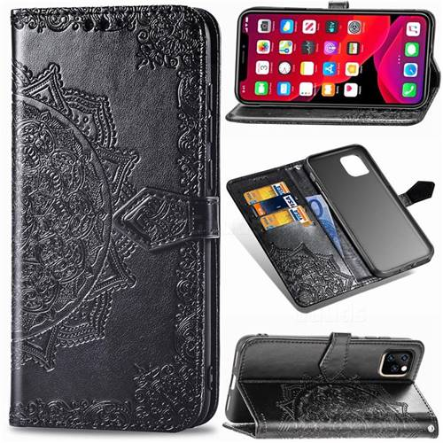 Embossing Imprint Mandala Flower Leather Wallet Case for iPhone 11 Pro Max (6.5 inch) - Black