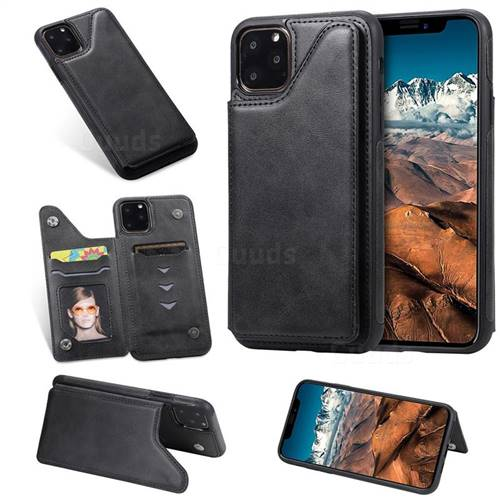 Luxury Multifunction Magnetic Card Slots Stand Calf Leather Phone Back Cover for iPhone 11 Pro Max (6.5 inch) - Black