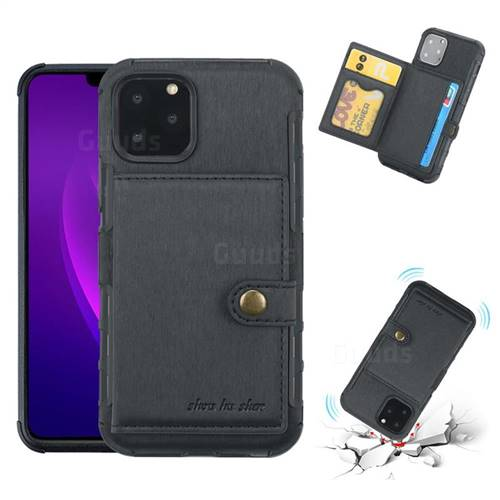 Brush Multi-function Leather Phone Case for iPhone 11 Pro Max (6.5 inch) - Black