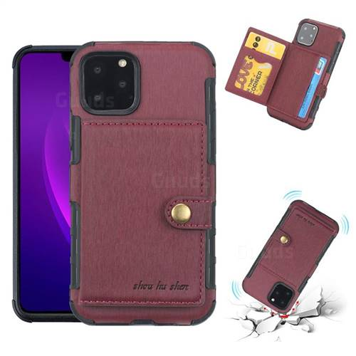 Brush Multi-function Leather Phone Case for iPhone 11 Pro Max (6.5 inch) - Wine Red