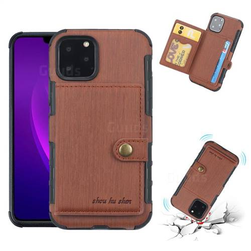 Brush Multi-function Leather Phone Case for iPhone 11 Pro Max (6.5 inch) - Brown