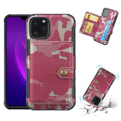 Camouflage Multi-function Leather Phone Case for iPhone 11 Pro Max (6.5 inch) - Rose