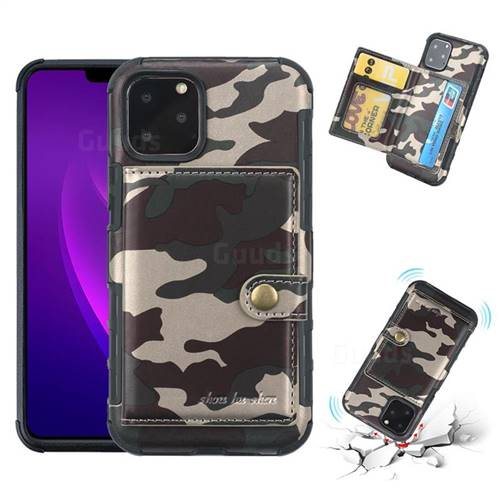Camouflage Multi-function Leather Phone Case for iPhone 11 Pro Max (6.5 inch) - Purple
