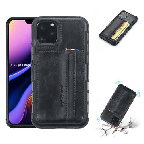 Luxury Shatter-resistant Leather Coated Card Phone Case for iPhone 11 Pro Max (6.5 inch) - Black