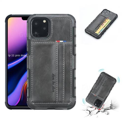 Luxury Shatter-resistant Leather Coated Card Phone Case for iPhone 11 Pro Max (6.5 inch) - Gray