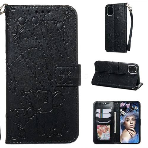 Embossing Fireworks Elephant Leather Wallet Case for iPhone 11 Pro Max (6.5 inch) - Black