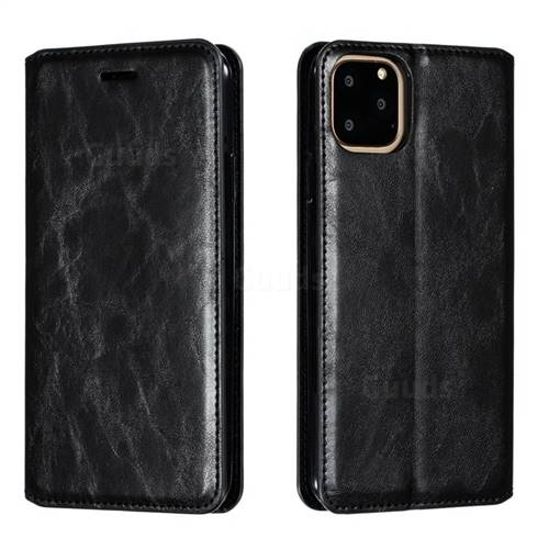 Retro Slim Magnetic Crazy Horse PU Leather Wallet Case for iPhone 11 Pro Max (6.5 inch) - Black