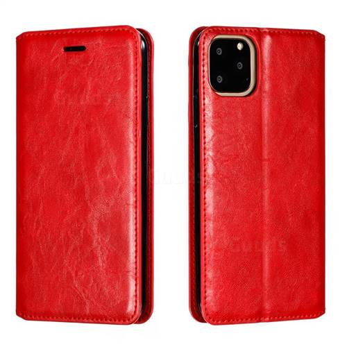 Retro Slim Magnetic Crazy Horse PU Leather Wallet Case for iPhone 11 Pro Max (6.5 inch) - Red