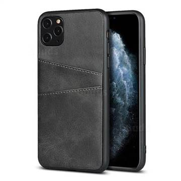 Simple Calf Card Slots Mobile Phone Back Cover for iPhone 11 Pro Max (6.5 inch) - Black