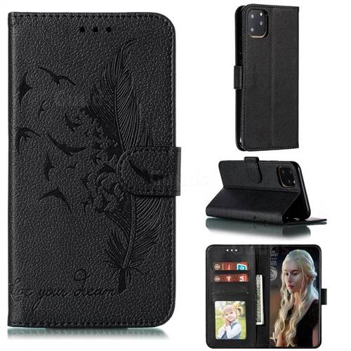 Intricate Embossing Lychee Feather Bird Leather Wallet Case for iPhone 11 Pro Max (6.5 inch) - Black