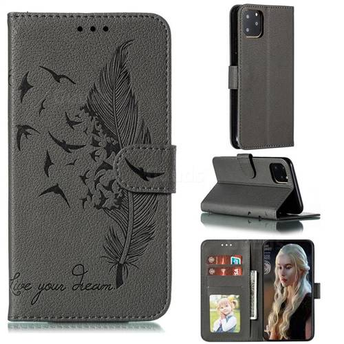 Intricate Embossing Lychee Feather Bird Leather Wallet Case for iPhone 11 Pro Max (6.5 inch) - Gray