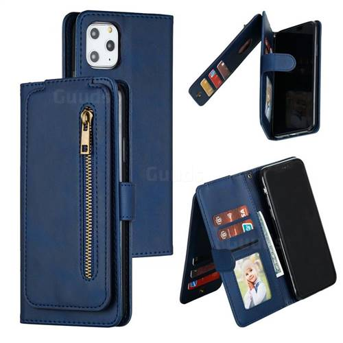 Multifunction 9 Cards Leather Zipper Wallet Phone Case for iPhone 11 Pro Max (6.5 inch) - Blue