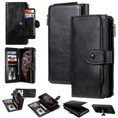 Retro Multifunction Zipper Magnetic Separable Leather Phone Case Cover for iPhone 11 Pro Max (6.5 inch) - Black