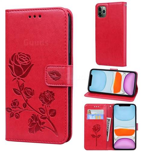 Embossing Rose Flower Leather Wallet Case for iPhone 11 Pro Max (6.5 inch) - Red