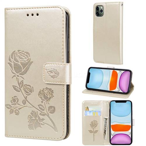 Embossing Rose Flower Leather Wallet Case for iPhone 11 Pro Max (6.5 inch) - Golden