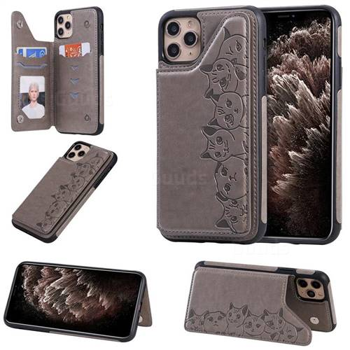 Yikatu Luxury Cute Cats Multifunction Magnetic Card Slots Stand Leather Back Cover for iPhone 11 Pro Max (6.5 inch) - Gray