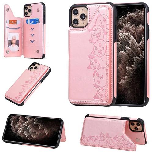 Yikatu Luxury Cute Cats Multifunction Magnetic Card Slots Stand Leather Back Cover for iPhone 11 Pro Max (6.5 inch) - Rose Gold