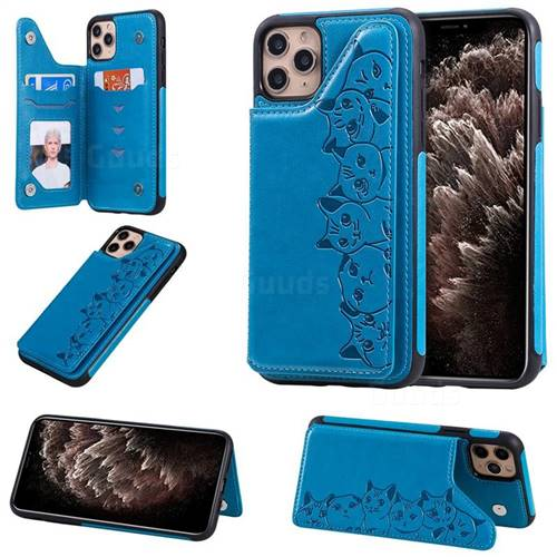 Yikatu Luxury Cute Cats Multifunction Magnetic Card Slots Stand Leather Back Cover for iPhone 11 Pro Max (6.5 inch) - Blue