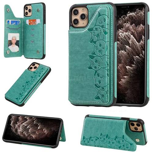 Yikatu Luxury Cute Cats Multifunction Magnetic Card Slots Stand Leather Back Cover for iPhone 11 Pro Max (6.5 inch) - Green