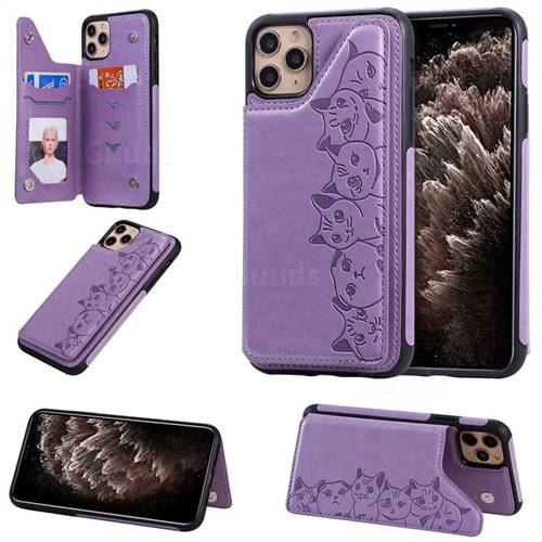 Yikatu Luxury Cute Cats Multifunction Magnetic Card Slots Stand Leather Back Cover for iPhone 11 Pro Max (6.5 inch) - Purple