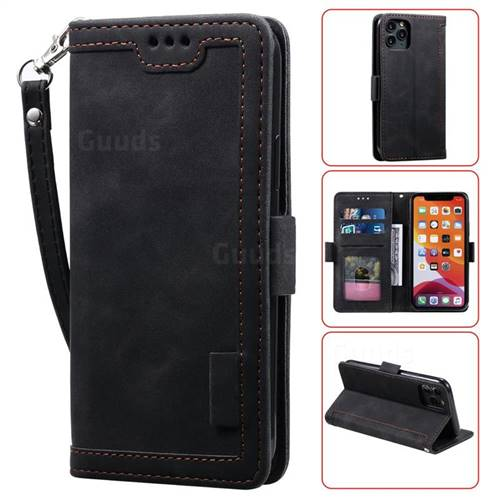Luxury Retro Stitching Leather Wallet Phone Case for iPhone 11 Pro Max (6.5 inch) - Black