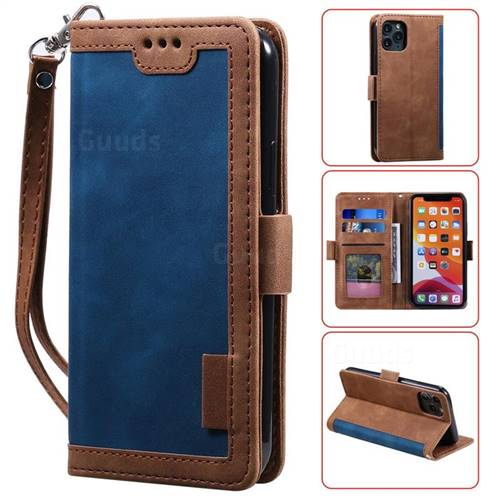 Luxury Retro Stitching Leather Wallet Phone Case for iPhone 11 Pro Max (6.5 inch) - Dark Blue