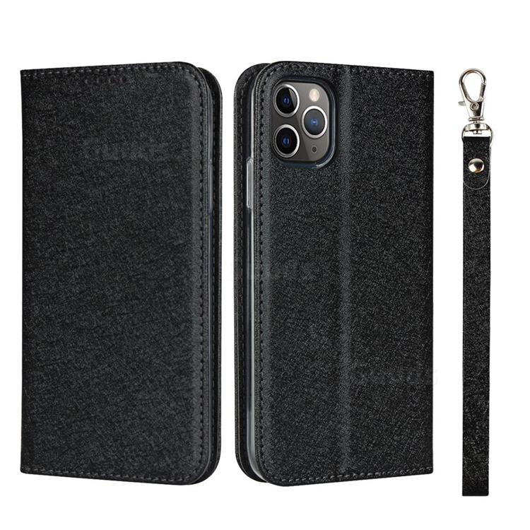 Ultra Slim Magnetic Automatic Suction Silk Lanyard Leather Flip Cover for iPhone 11 Pro Max (6.5 inch) - Black