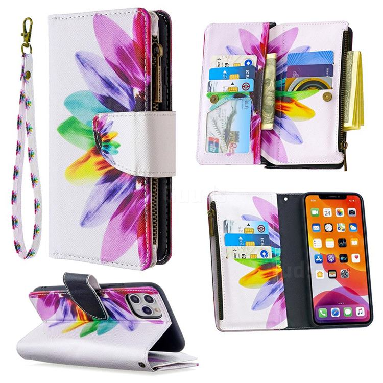 Seven-color Flowers Binfen Color BF03 Retro Zipper Leather Wallet Phone Case for iPhone 11 Pro Max (6.5 inch)