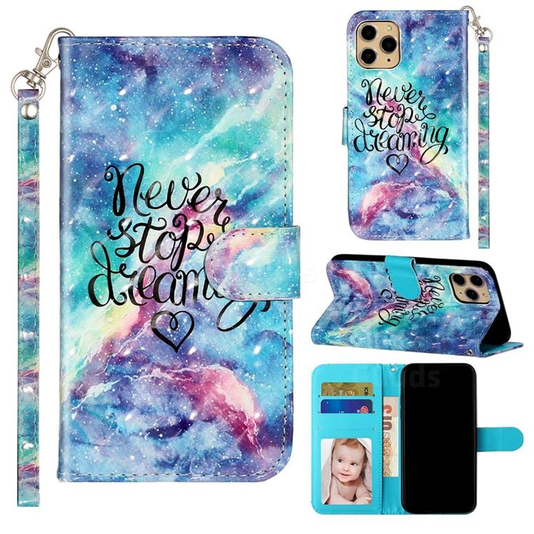 Blue Starry Sky 3D Leather Phone Holster Wallet Case for iPhone 11 Pro Max (6.5 inch)