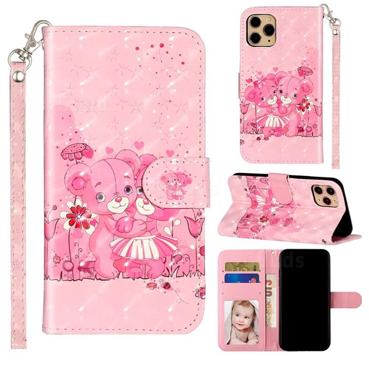 Pink Bear 3D Leather Phone Holster Wallet Case for iPhone 11 Pro Max (6.5 inch)
