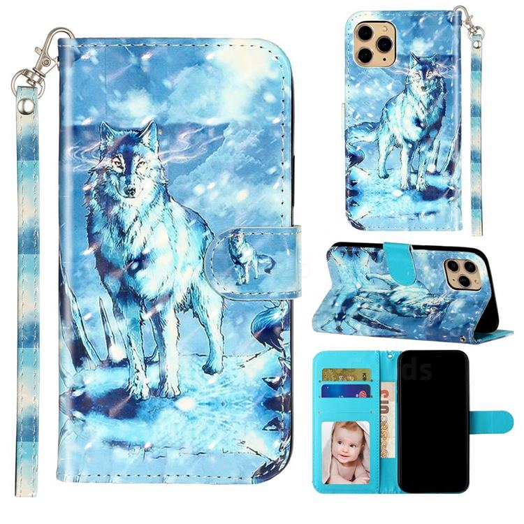 Snow Wolf 3D Leather Phone Holster Wallet Case for iPhone 11 Pro Max (6.5 inch)