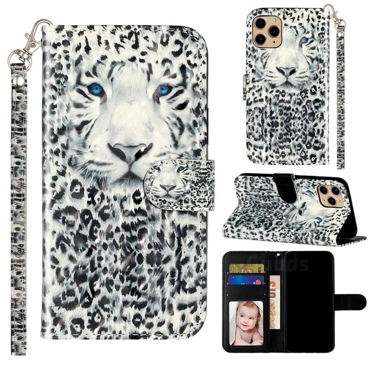 White Leopard 3D Leather Phone Holster Wallet Case for iPhone 11 Pro Max (6.5 inch)