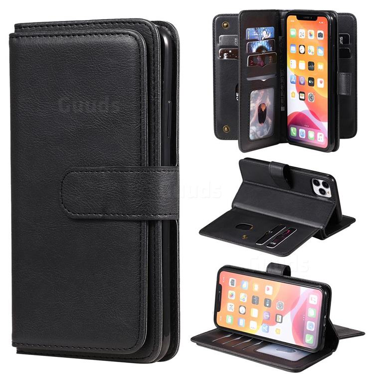 Multi-function Ten Card Slots and Photo Frame PU Leather Wallet Phone Case Cover for iPhone 11 Pro Max (6.5 inch) - Black