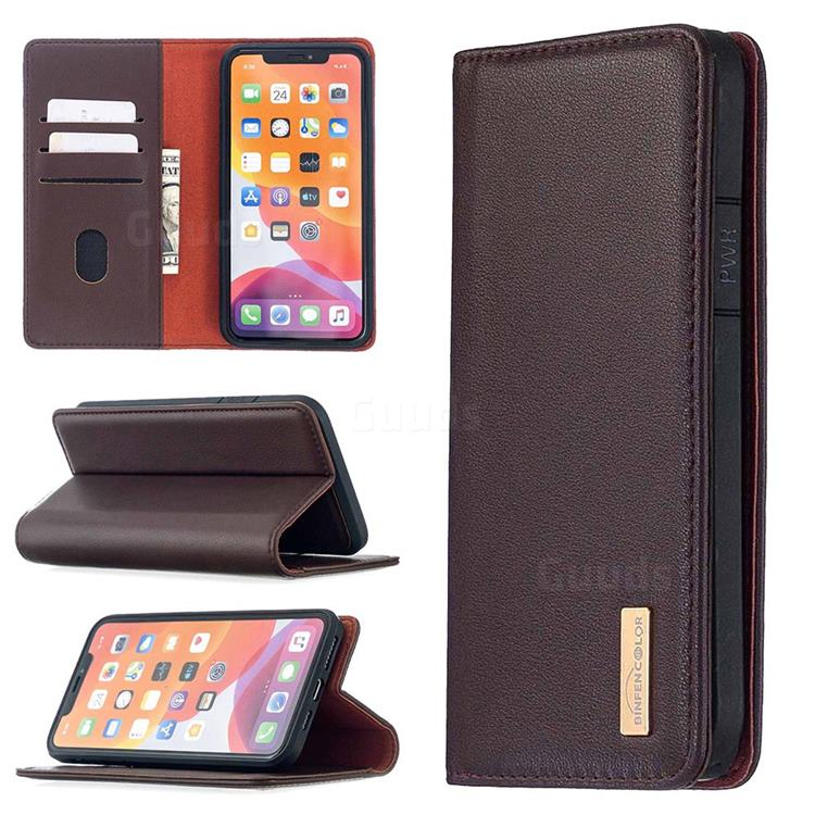 Binfen Color BF06 Luxury Classic Genuine Leather Detachable Magnet Holster Cover for iPhone 11 Pro Max (6.5 inch) - Dark Brown