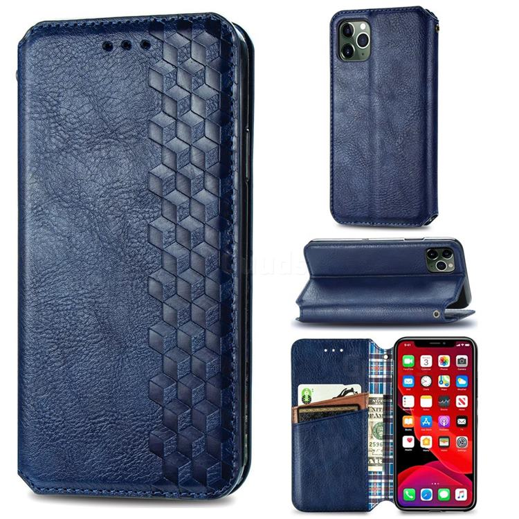 Ultra Slim Fashion Business Card Magnetic Automatic Suction Leather Flip Cover for iPhone 11 Pro Max (6.5 inch) - Dark Blue
