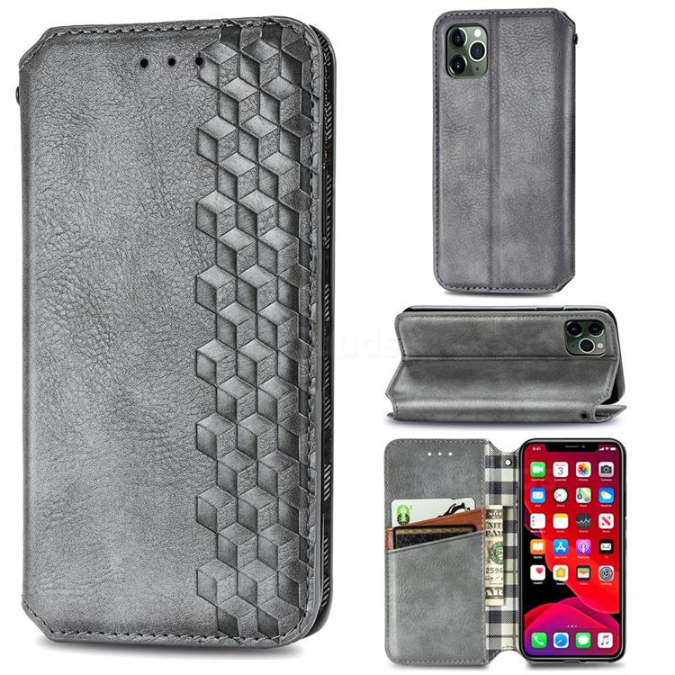 Ultra Slim Fashion Business Card Magnetic Automatic Suction Leather Flip Cover for iPhone 11 Pro Max (6.5 inch) - Grey