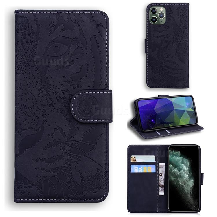 Intricate Embossing Tiger Face Leather Wallet Case for iPhone 11 Pro Max (6.5 inch) - Black