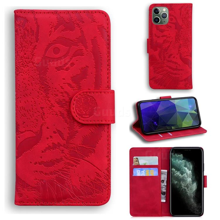 Intricate Embossing Tiger Face Leather Wallet Case for iPhone 11 Pro Max (6.5 inch) - Red