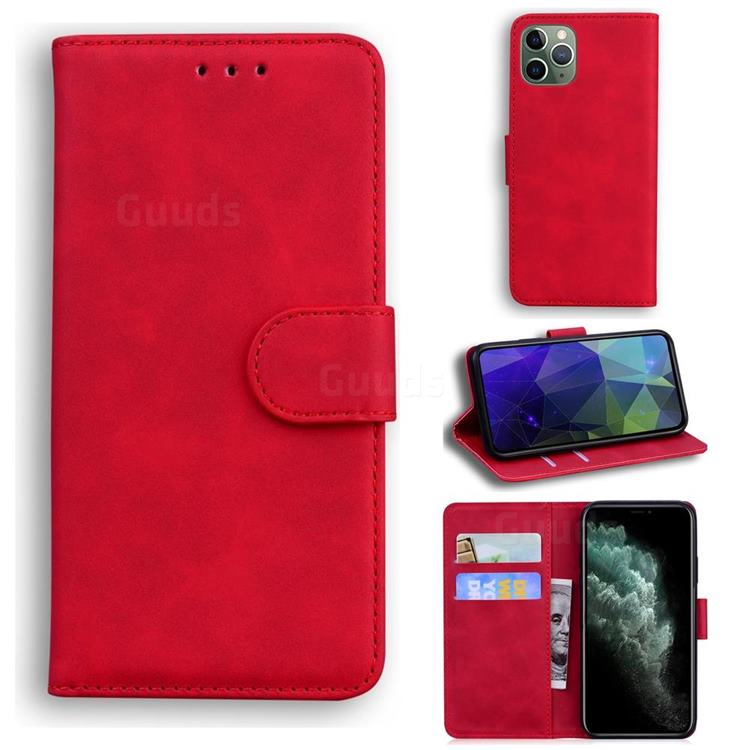 Retro Classic Skin Feel Leather Wallet Phone Case for iPhone 11 Pro Max (6.5 inch) - Red