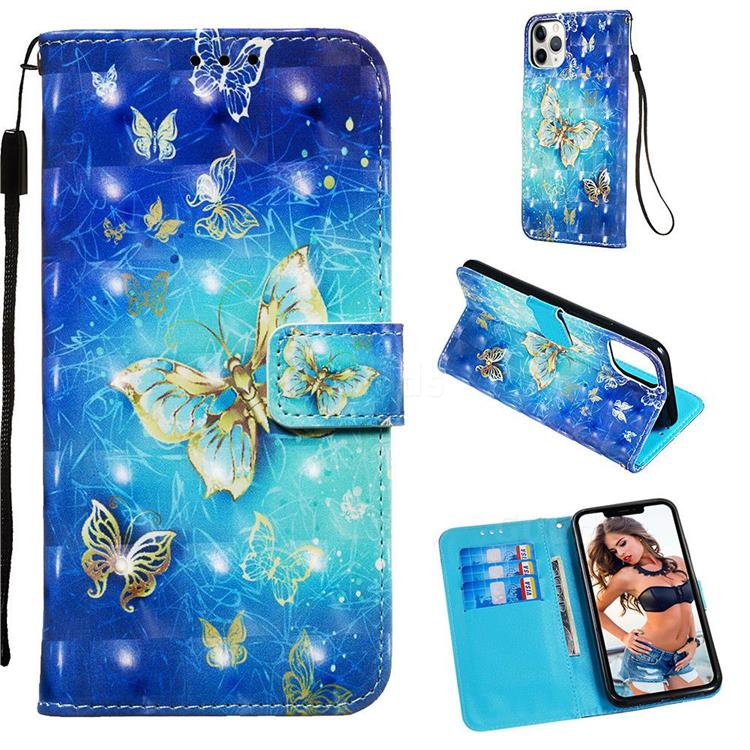 Gold Butterfly 3D Painted Leather Wallet Case for iPhone 11 Pro Max (6.5 inch)